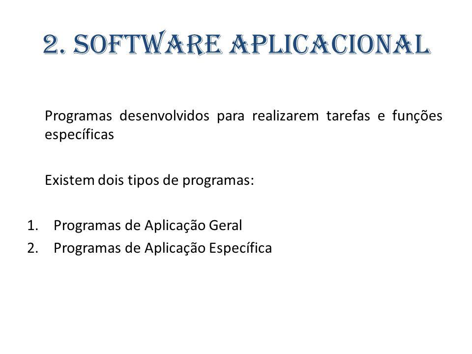 2. Software Aplicacional Programas desenvolvidos para realizarem tarefas e funções específicas Existem dois tipos de programas: 1.Programas de Aplicaç