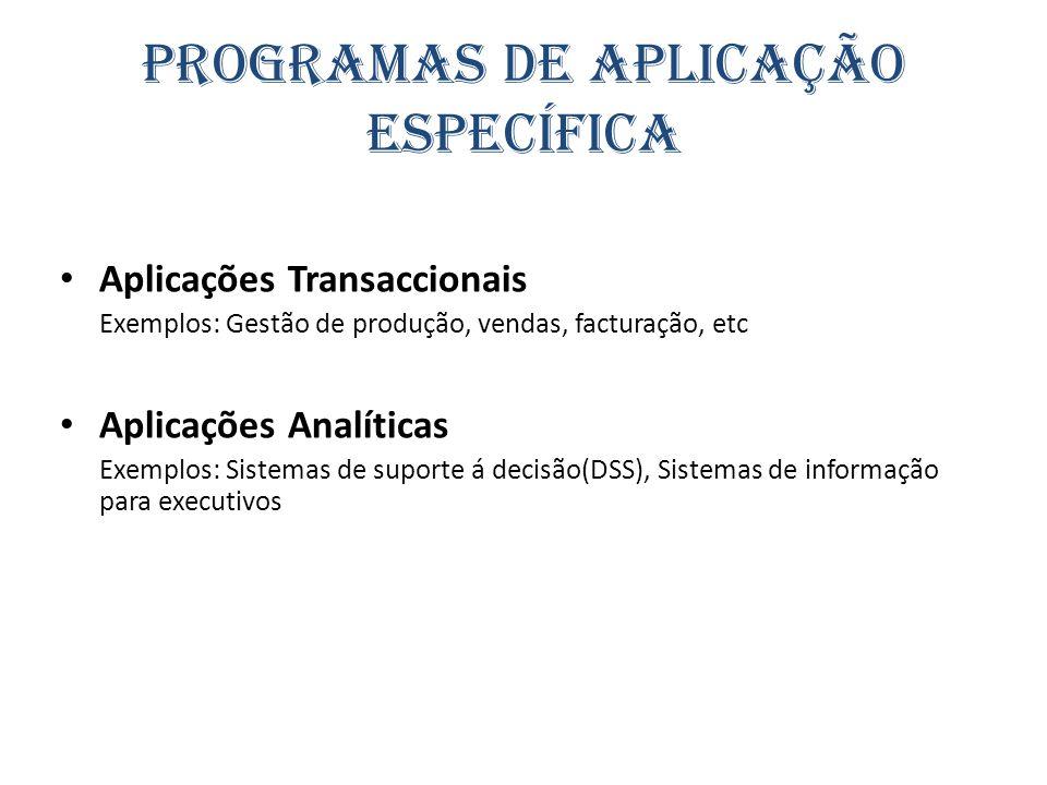 Programas de Aplicação Específica Aplicações Transaccionais Exemplos: Gestão de produção, vendas, facturação, etc Aplicações Analíticas Exemplos: Sist
