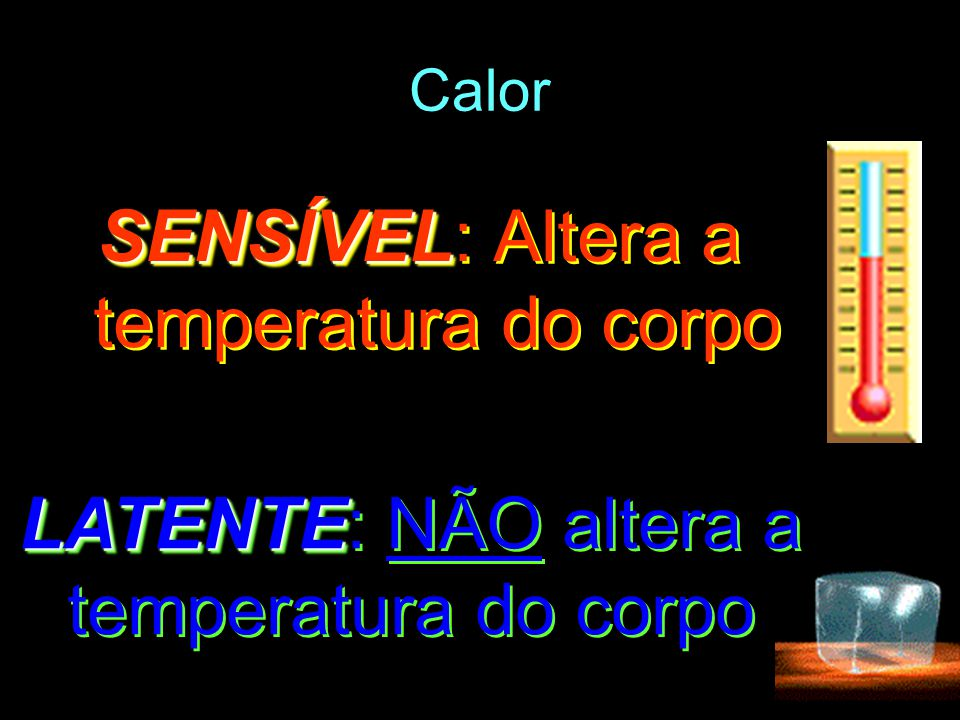 Calor SENSÍVEL SENSÍVEL: Altera a temperatura do corpo LATENTE LATENTE: NÃO altera a temperatura do corpo