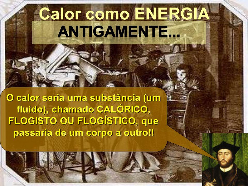 Calor como ENERGIA O calor seria uma substância (um fluido), chamado CALÓRICO, FLOGISTO OU FLOGÍSTICO, que passaria de um corpo a outro!!