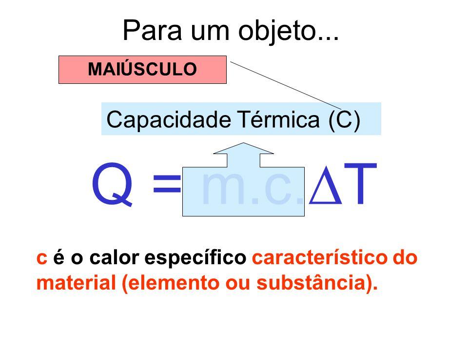 Para um objeto... Q = m.c. T c é o calor específico característico do material (elemento ou substância). Capacidade Térmica (C) MAIÚSCULO
