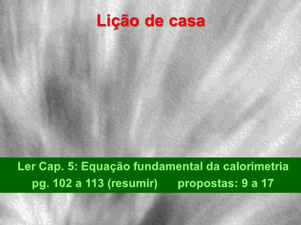 Lição de casa Ler Cap. 5: Equação fundamental da calorimetria pg. 102 a 113 (resumir) propostas: 9 a 17