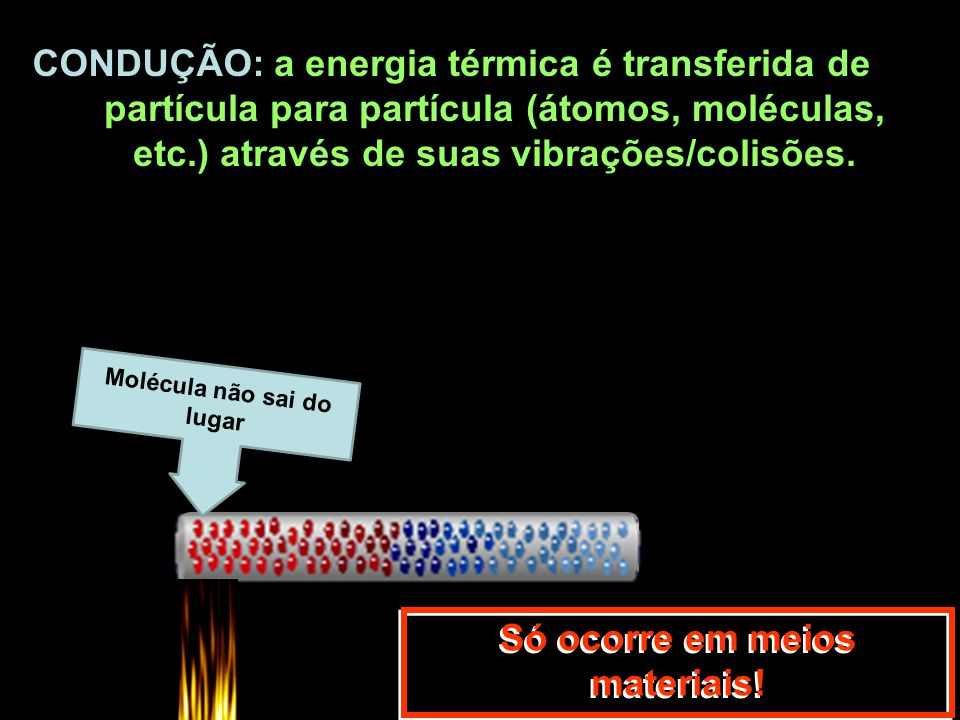a energia térmica é transferida de partícula para partícula (átomos, moléculas, etc.) através de suas vibrações/colisões. Só ocorre em meios materiais