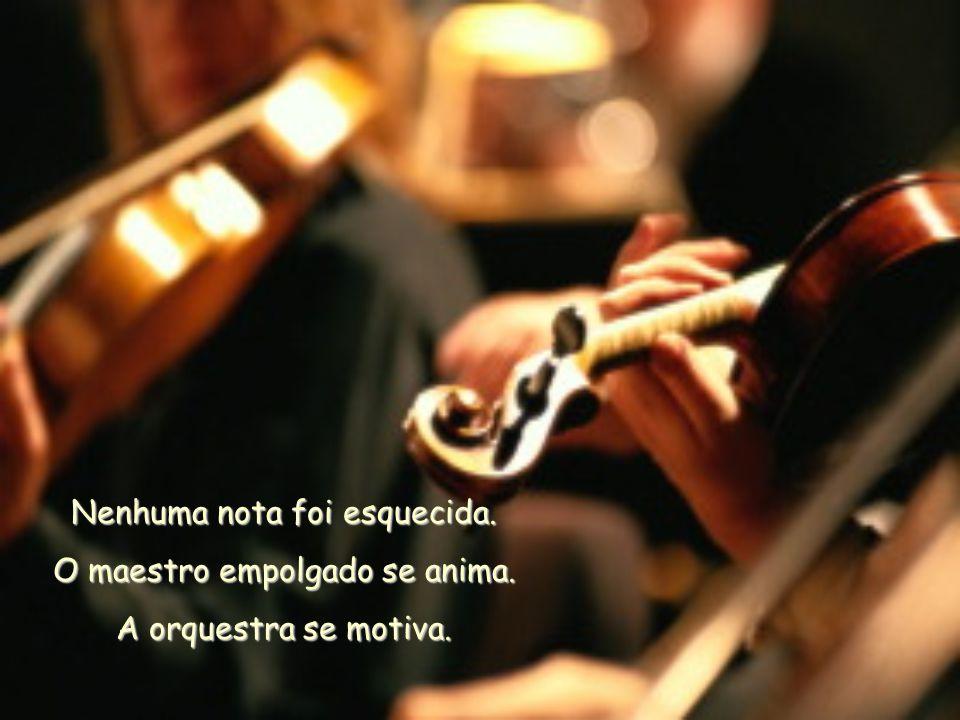 Nenhuma nota foi esquecida. O maestro empolgado se anima. A orquestra se motiva.