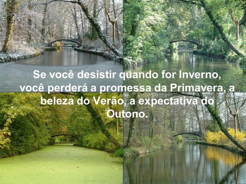 Se você desistir quando for Inverno, você perderá a promessa da Primavera, a beleza do Verão, a expectativa do Outono.