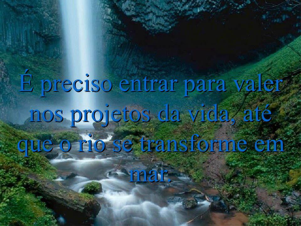 É preciso entrar para valer nos projetos da vida, até que o rio se transforme em mar. É preciso entrar para valer nos projetos da vida, até que o rio
