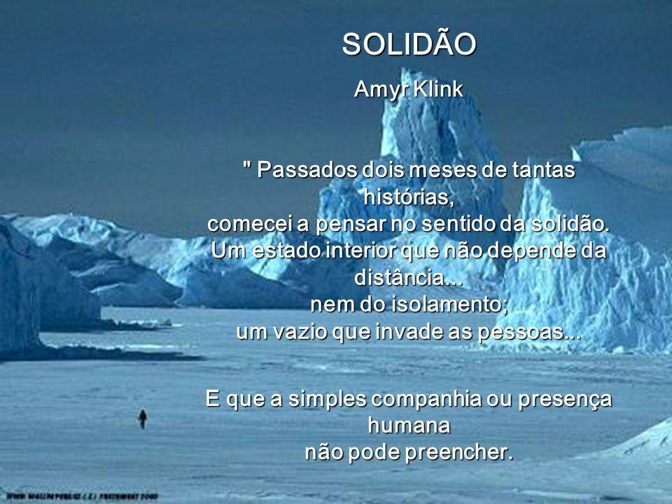 SOLIDÃO Amyr Klink Passados dois meses de tantas histórias, comecei a pensar no sentido da solidão.