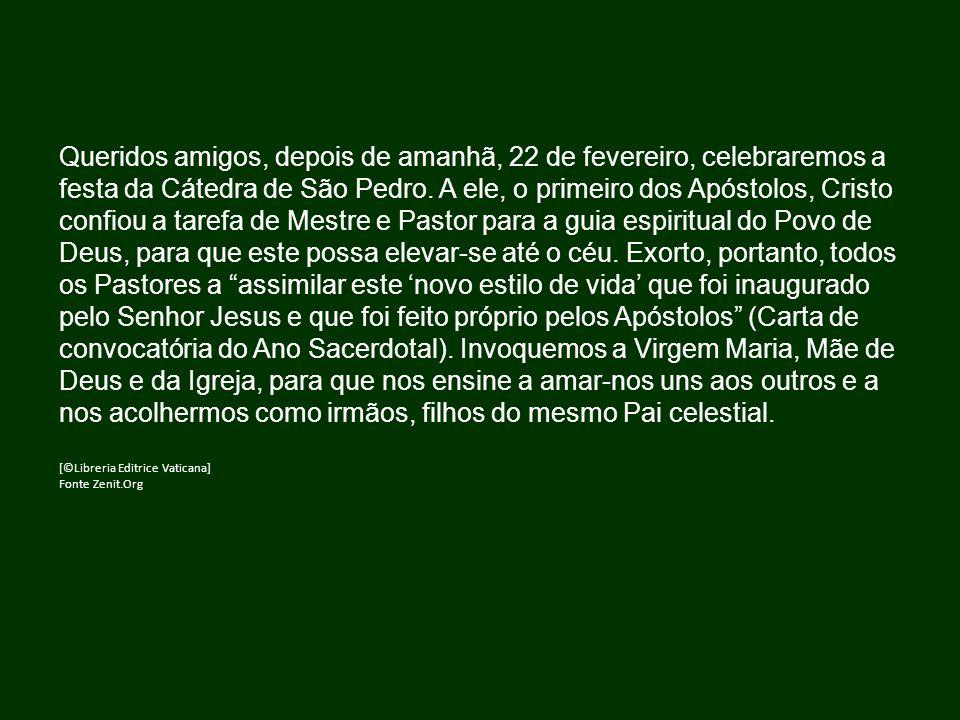 Queridos amigos, depois de amanhã, 22 de fevereiro, celebraremos a festa da Cátedra de São Pedro.