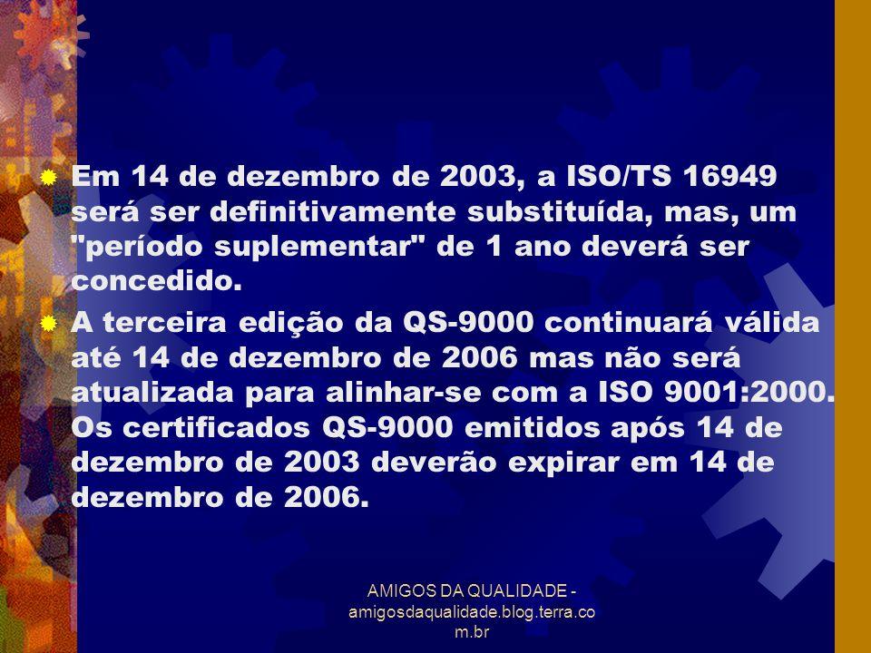 AMIGOS DA QUALIDADE - amigosdaqualidade.blog.terra.co m.br Em 14 de dezembro de 2003, a ISO/TS 16949 será ser definitivamente substituída, mas, um