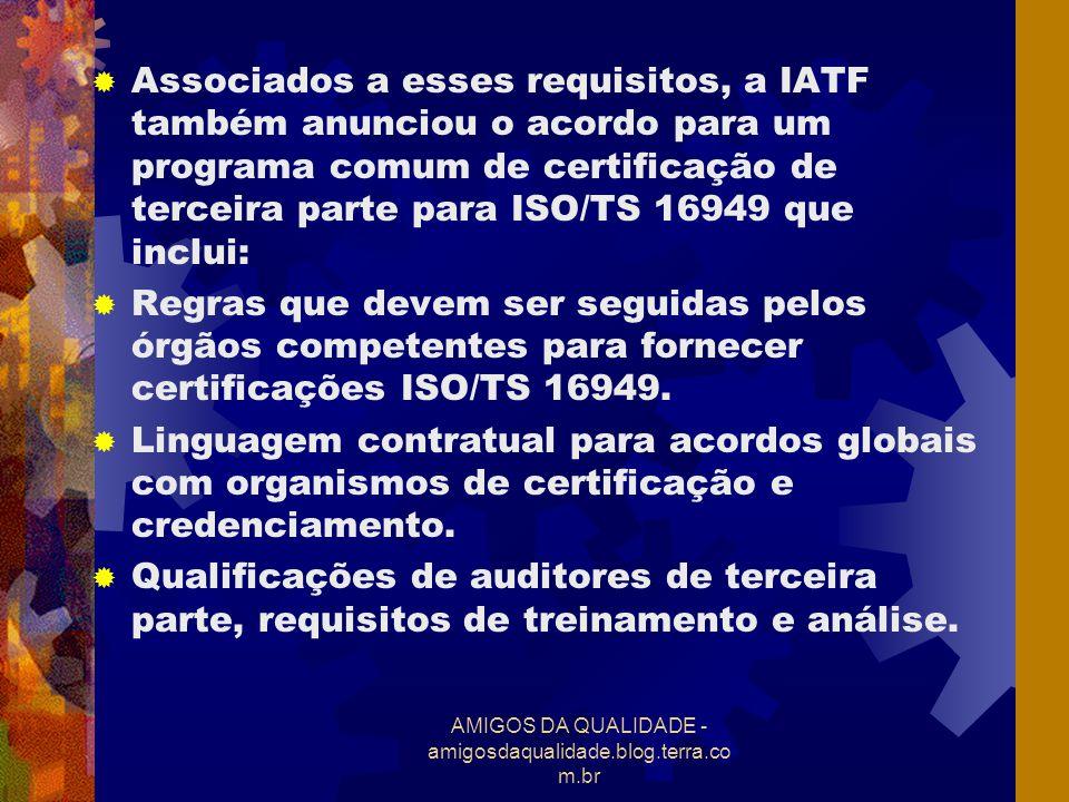 AMIGOS DA QUALIDADE - amigosdaqualidade.blog.terra.co m.br Certificações de terceira parte emitidas através de qualquer outro esquema não serão reconhecidas pelas organizações que fazem parte da IATF.