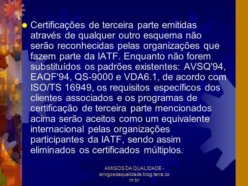 AMIGOS DA QUALIDADE - amigosdaqualidade.blog.terra.co m.br Certificações de terceira parte emitidas através de qualquer outro esquema não serão reconh
