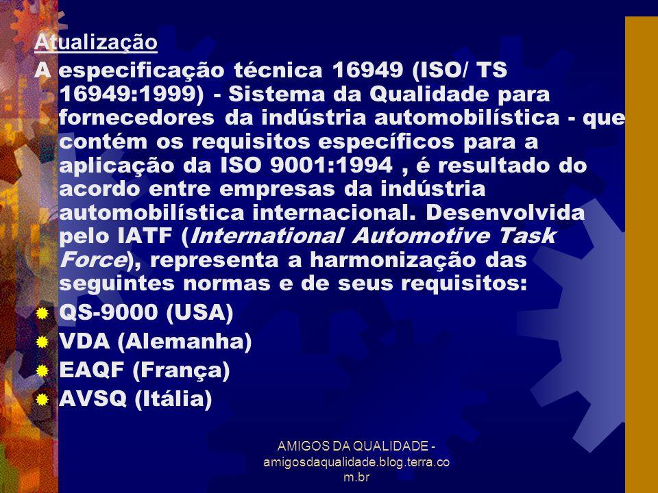 AMIGOS DA QUALIDADE - amigosdaqualidade.blog.terra.co m.br Atualização A especificação técnica 16949 (ISO/ TS 16949:1999) - Sistema da Qualidade para