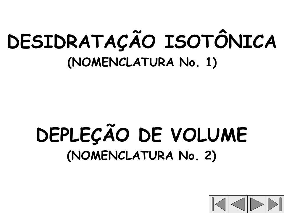 DESIDRATAÇÃO ISOTÔNICA (NOMENCLATURA No. 1) DEPLEÇÃO DE VOLUME (NOMENCLATURA No. 2)