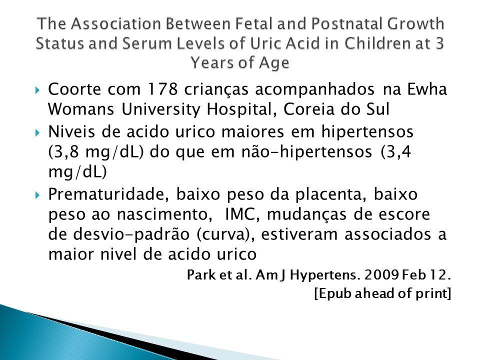 Coorte com 178 crianças acompanhados na Ewha Womans University Hospital, Coreia do Sul Niveis de acido urico maiores em hipertensos (3,8 mg/dL) do que em não-hipertensos (3,4 mg/dL) Prematuridade, baixo peso da placenta, baixo peso ao nascimento, IMC, mudanças de escore de desvio-padrão (curva), estiveram associados a maior nivel de acido urico Park et al.