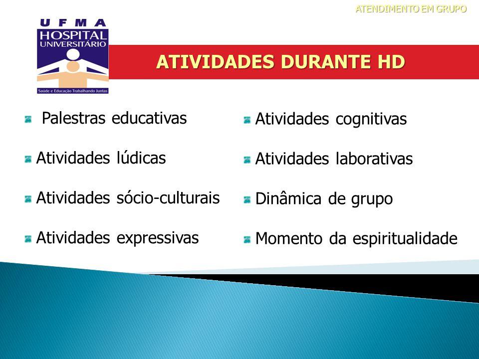 Palestras educativas Atividades lúdicas Atividades sócio-culturais Atividades expressivas Atividades cognitivas Atividades laborativas Dinâmica de gru
