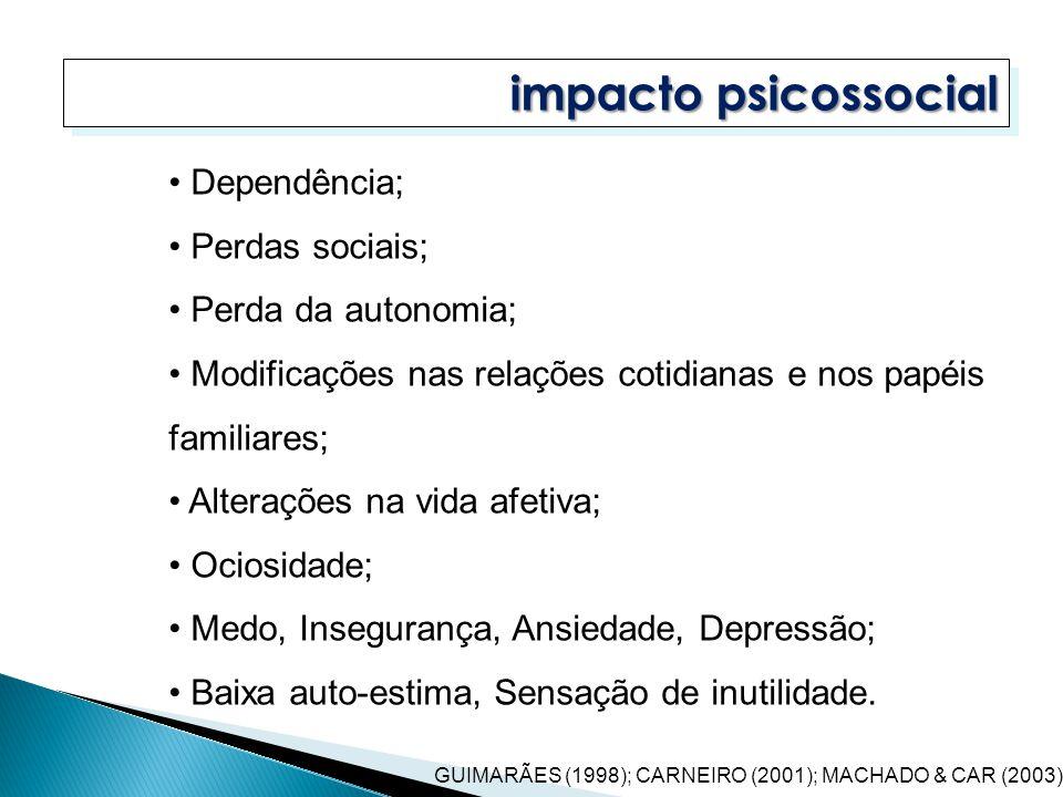 impacto psicossocial GUIMARÃES (1998); CARNEIRO (2001); MACHADO & CAR (2003) Dependência; Perdas sociais; Perda da autonomia; Modificações nas relaçõe