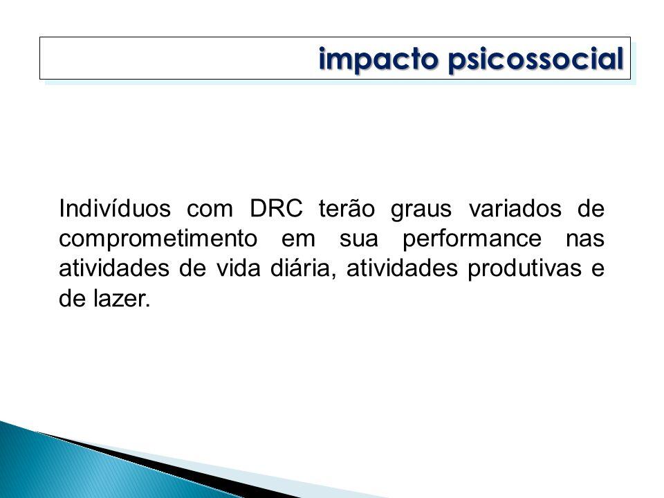 impacto psicossocial Indivíduos com DRC terão graus variados de comprometimento em sua performance nas atividades de vida diária, atividades produtiva