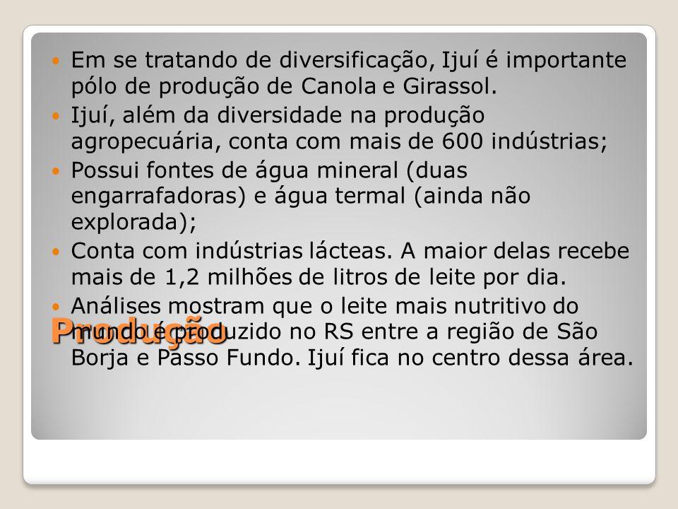 Produção Em se tratando de diversificação, Ijuí é importante pólo de produção de Canola e Girassol.