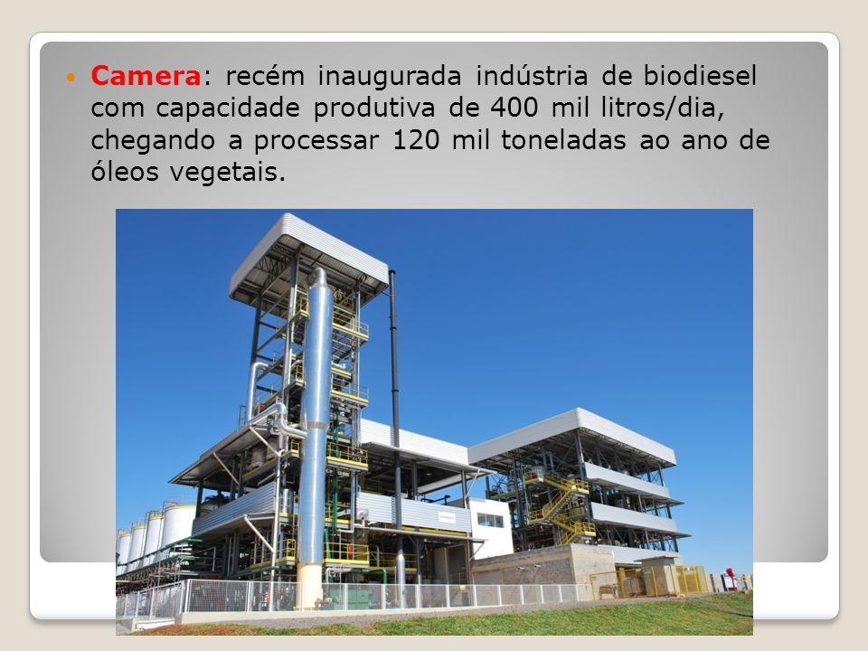 Camera: recém inaugurada indústria de biodiesel com capacidade produtiva de 400 mil litros/dia, chegando a processar 120 mil toneladas ao ano de óleos vegetais.