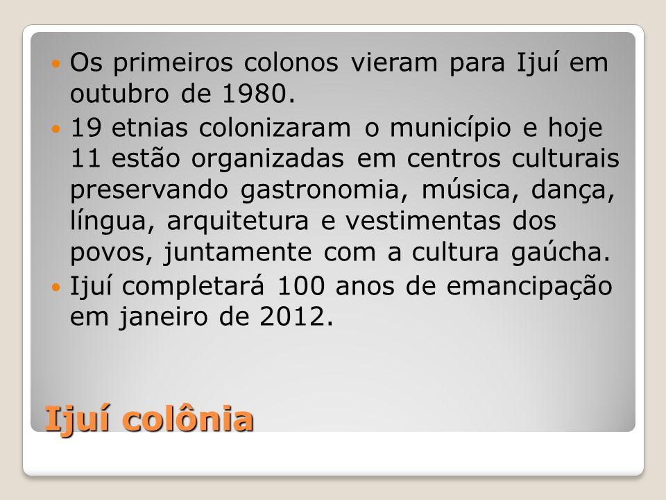 Ijuí colônia Os primeiros colonos vieram para Ijuí em outubro de 1980.