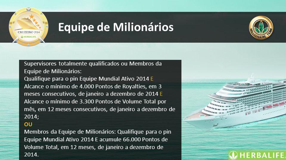 Equipe de Milionários Supervisores totalmente qualificados ou Membros da Equipe de Milionários: Qualifique para o pin Equipe Mundial Ativo 2014 E Alca