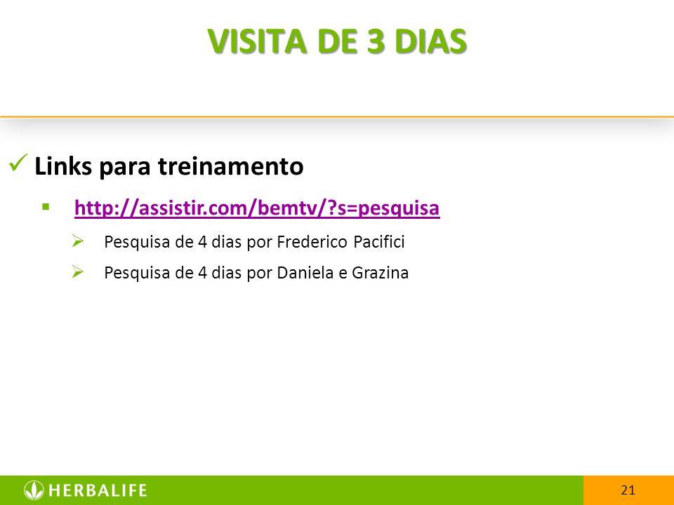 21 VISITA DE 3 DIAS Links para treinamento http://assistir.com/bemtv/?s=pesquisa Pesquisa de 4 dias por Frederico Pacifici Pesquisa de 4 dias por Daniela e Grazina