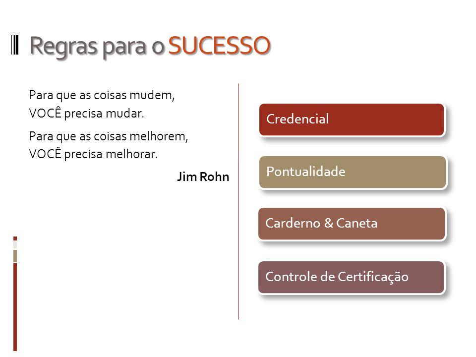 Regras para o SUCESSO Para que as coisas mudem, VOCÊ precisa mudar. Para que as coisas melhorem, VOCÊ precisa melhorar. Jim Rohn
