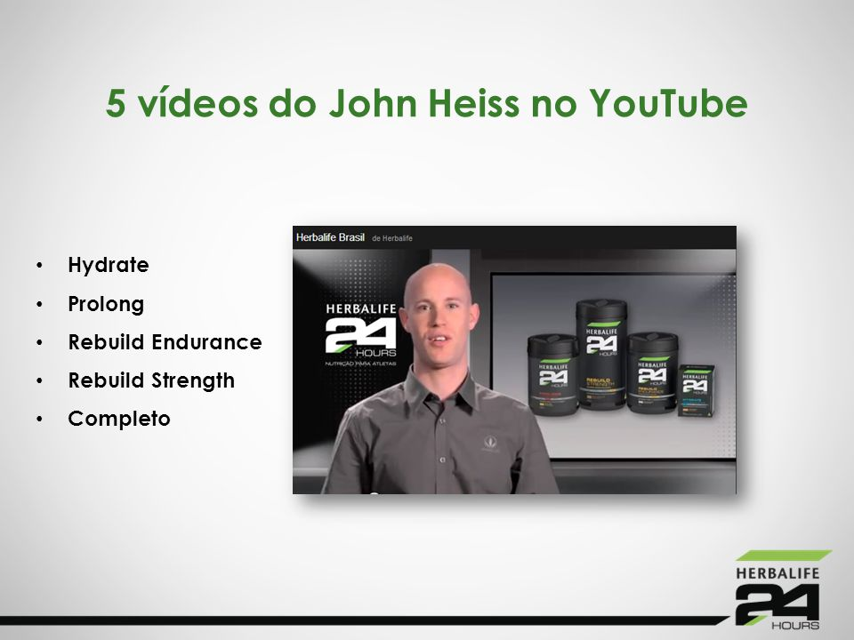 5 vídeos do John Heiss no YouTube Hydrate Prolong Rebuild Endurance Rebuild Strength Completo