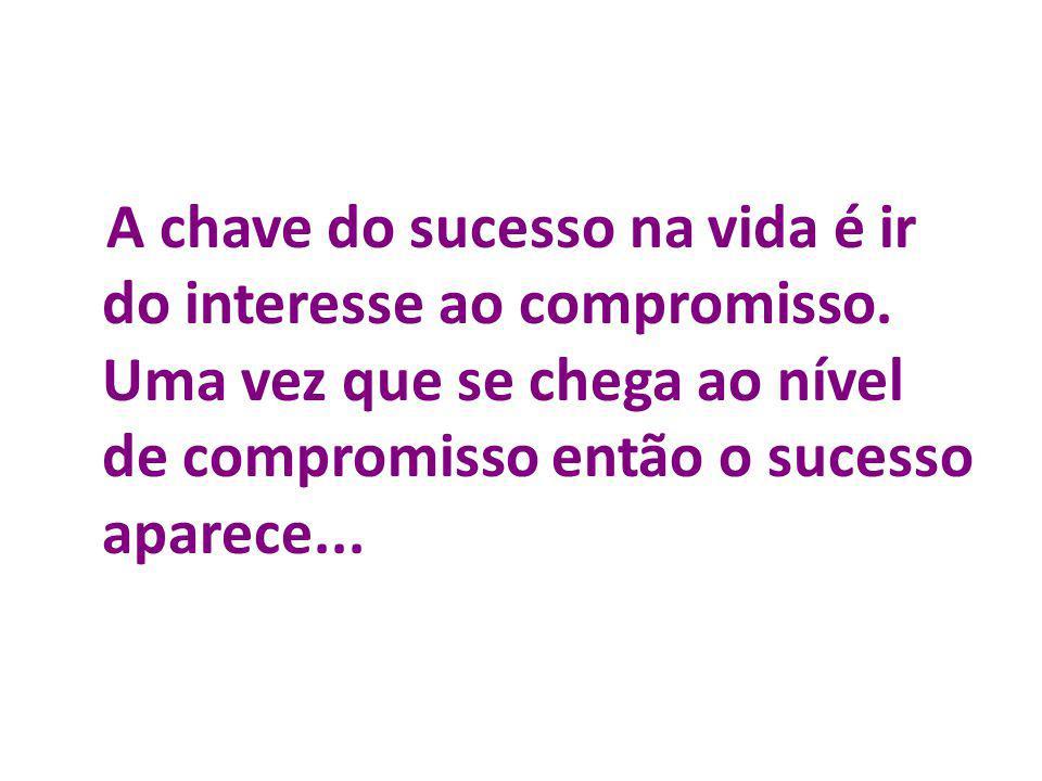A chave do sucesso na vida é ir do interesse ao compromisso. Uma vez que se chega ao nível de compromisso então o sucesso aparece... A chave do sucess