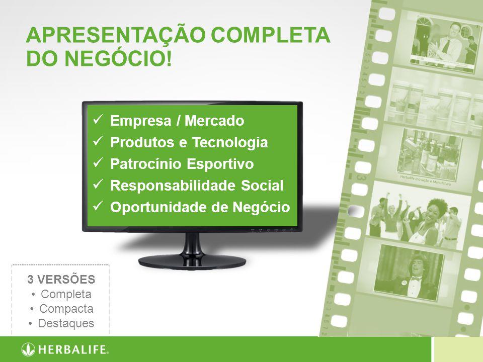 APRESENTAÇÃO COMPLETA DO NEGÓCIO! 3 VERSÕES Completa Compacta Destaques Empresa / Mercado Produtos e Tecnologia Patrocínio Esportivo Responsabilidade