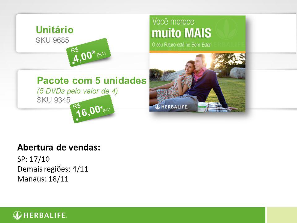 4,00** R$ (R1) Abertura de vendas: SP: 17/10 Demais regiões: 4/11 Manaus: 18/11 Unitário SKU 9685 4,00* * R$ (R1) Pacote com 5 unidades (5 DVDs pelo v