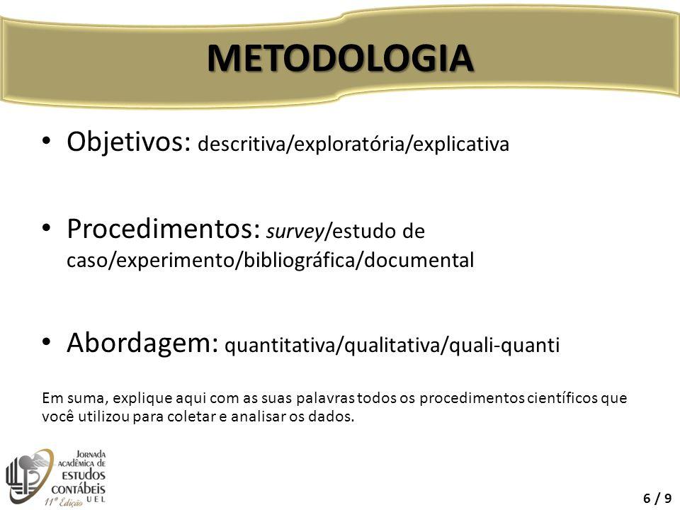 Objetivos: descritiva/exploratória/explicativa Procedimentos: survey/estudo de caso/experimento/bibliográfica/documental Abordagem: quantitativa/quali