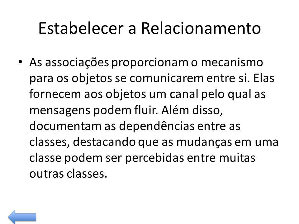 Estabelecer a Relacionamento As associações proporcionam o mecanismo para os objetos se comunicarem entre si. Elas fornecem aos objetos um canal pelo