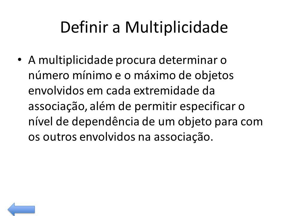 Definir a Multiplicidade A multiplicidade procura determinar o número mínimo e o máximo de objetos envolvidos em cada extremidade da associação, além