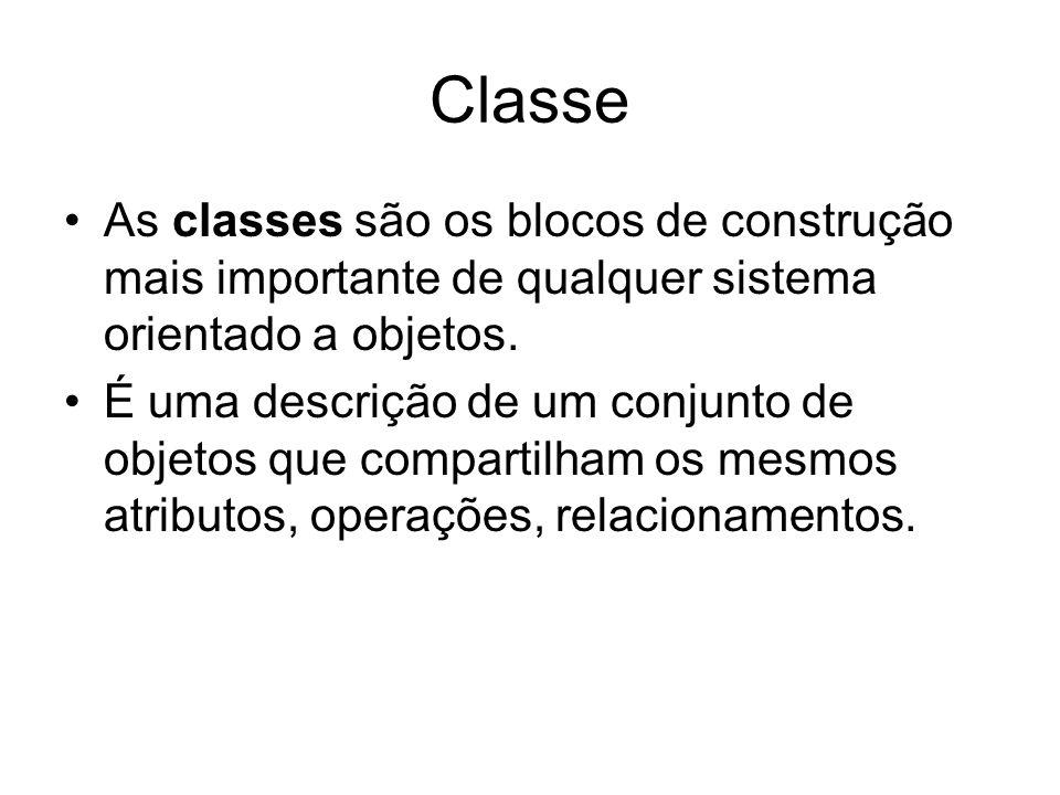 Classe As classes são os blocos de construção mais importante de qualquer sistema orientado a objetos. É uma descrição de um conjunto de objetos que c