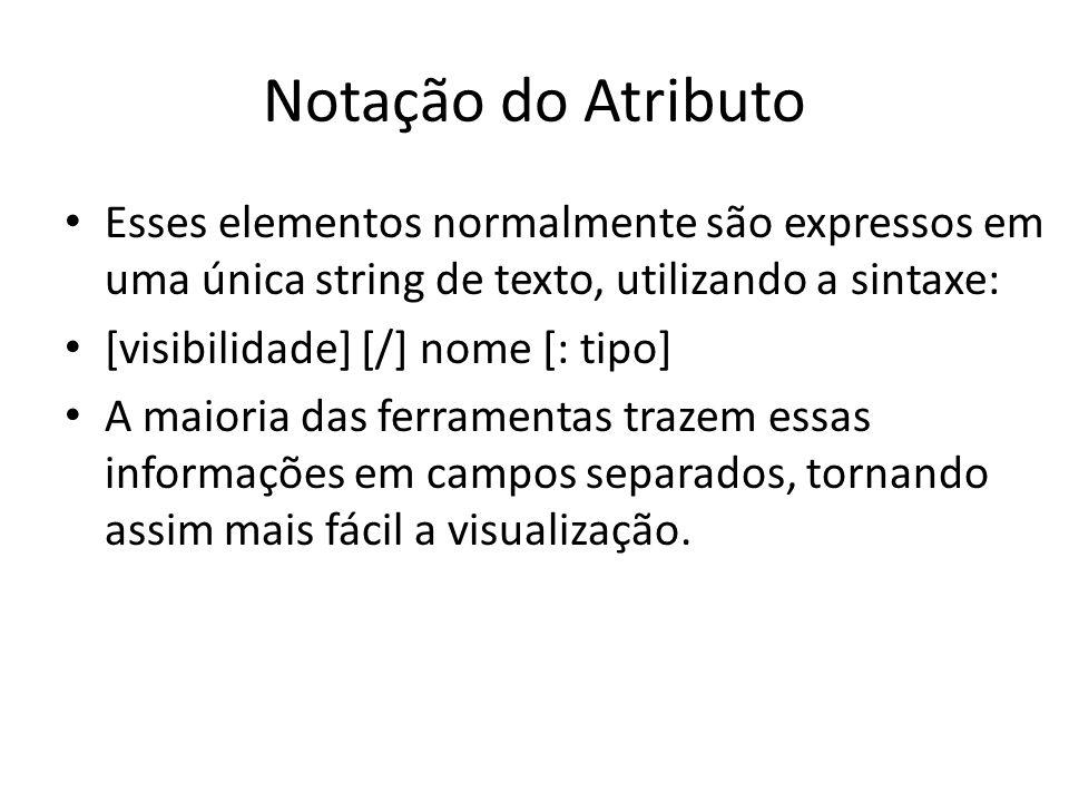 Notação do Atributo Esses elementos normalmente são expressos em uma única string de texto, utilizando a sintaxe: [visibilidade] [/] nome [: tipo] A m