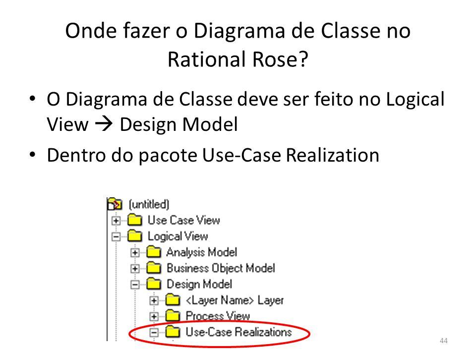 Onde fazer o Diagrama de Classe no Rational Rose? O Diagrama de Classe deve ser feito no Logical View Design Model Dentro do pacote Use-Case Realizati