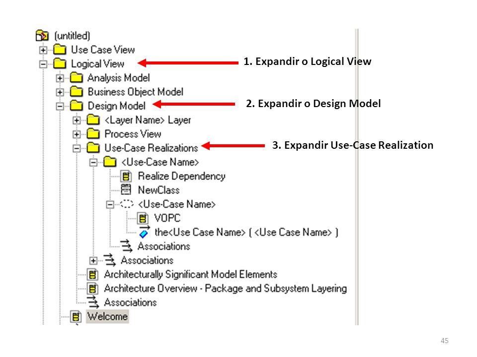 45 1. Expandir o Logical View 2. Expandir o Design Model 3. Expandir Use-Case Realization