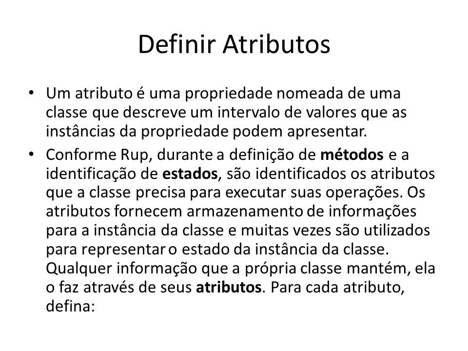 Definir Atributos Um atributo é uma propriedade nomeada de uma classe que descreve um intervalo de valores que as instâncias da propriedade podem apre