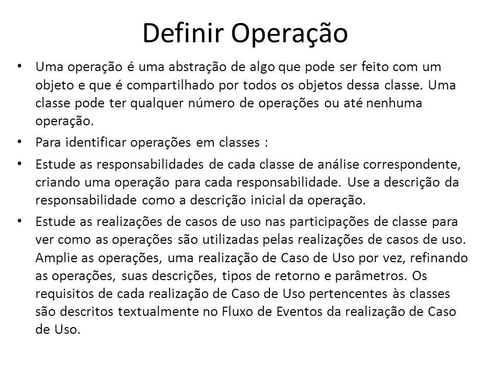 Definir Operação Uma operação é uma abstração de algo que pode ser feito com um objeto e que é compartilhado por todos os objetos dessa classe. Uma cl