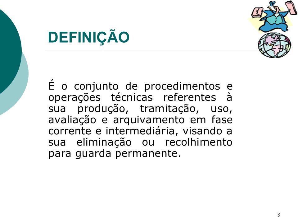 3 DEFINIÇÃO É o conjunto de procedimentos e operações técnicas referentes à sua produção, tramitação, uso, avaliação e arquivamento em fase corrente e