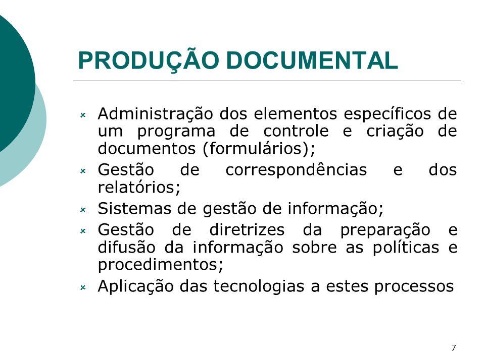7 PRODUÇÃO DOCUMENTAL Administração dos elementos específicos de um programa de controle e criação de documentos (formulários); Gestão de correspondên