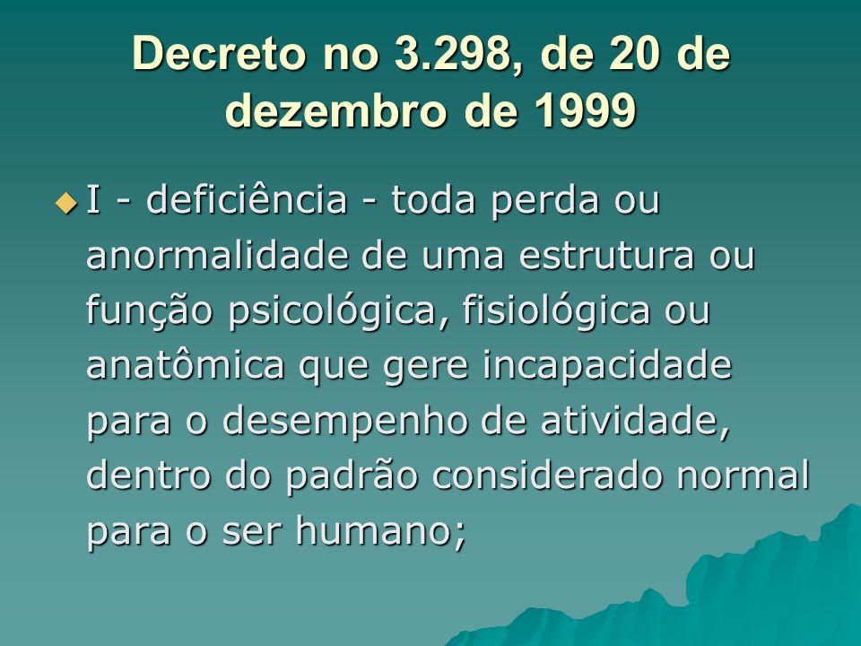 Decreto no 3.298, de 20 de dezembro de 1999 I - deficiência - toda perda ou anormalidade de uma estrutura ou função psicológica, fisiológica ou anatôm