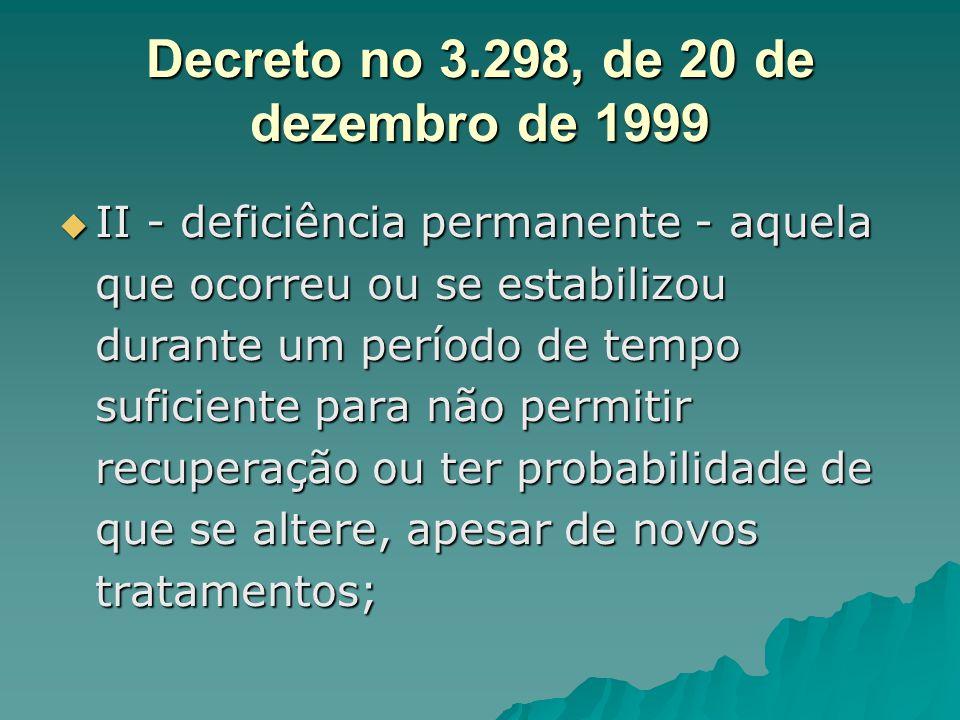 Decreto no 3.298, de 20 de dezembro de 1999 II - deficiência permanente - aquela que ocorreu ou se estabilizou durante um período de tempo suficiente
