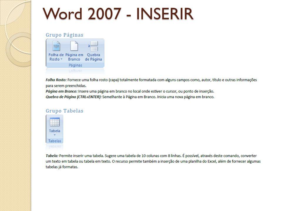 Word 2007 - INSERIR