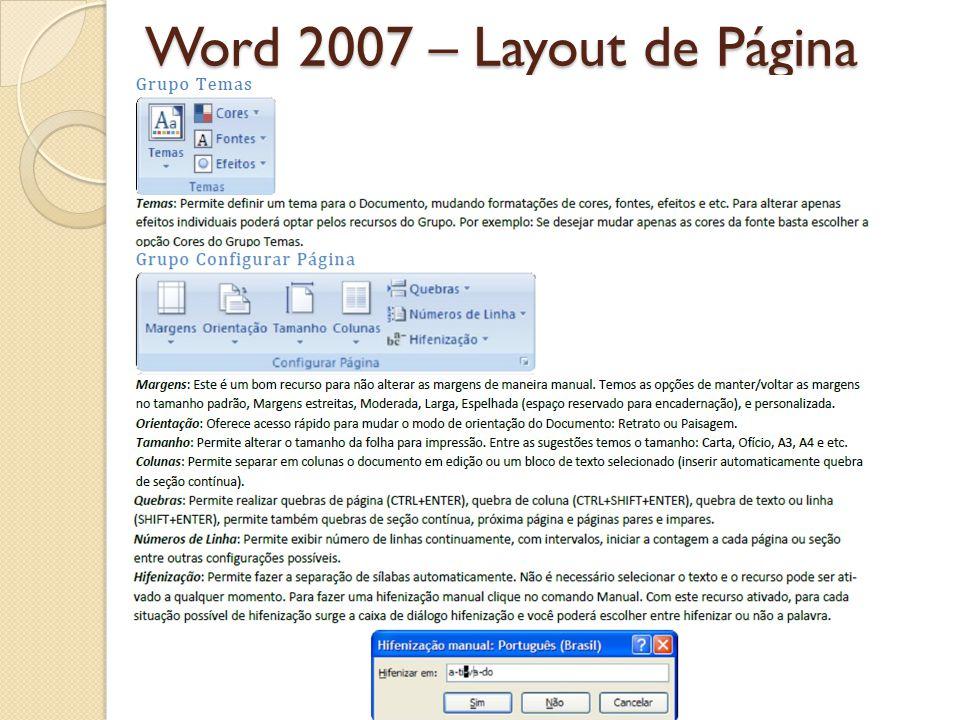 Word 2007 – Layout de Página