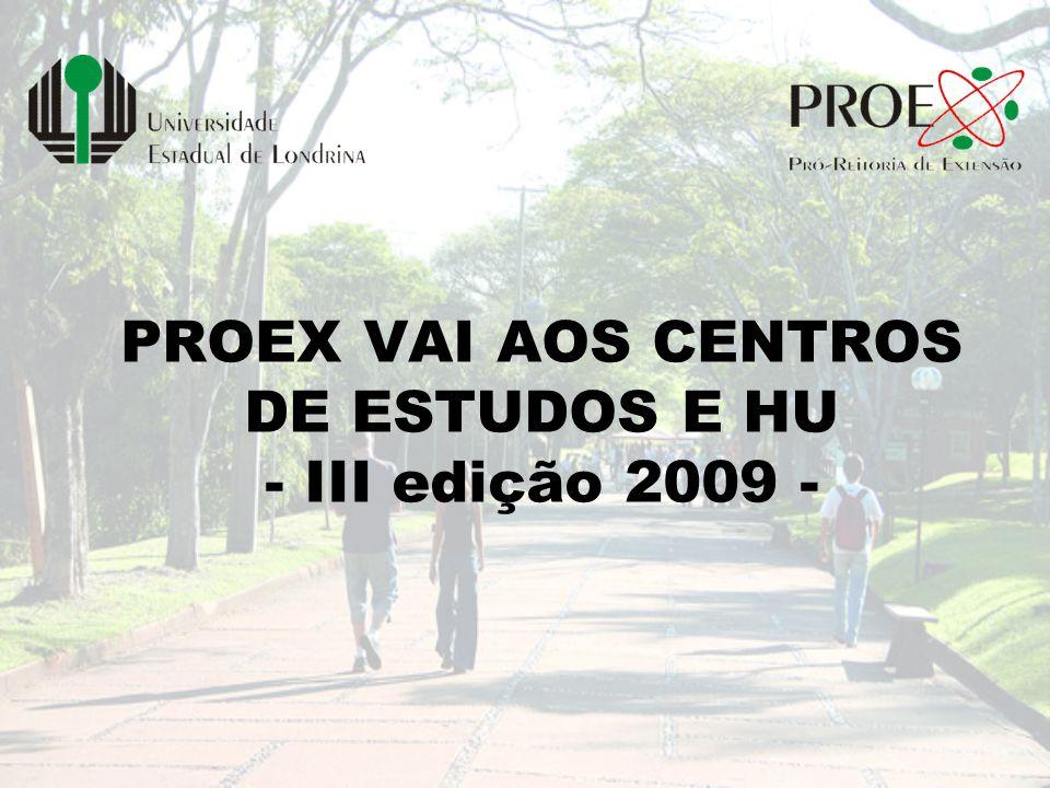 Programação – Proex -2009 II Fórum de Extensão 14 e 15 de abril Participantes - 392 III Salão de Extensão 08 e 09 de junho Participantes ouvintes – 140 Trabalhos – 224 Pôster (32), Orais (186) e Documentários (06) 1º Semestre AGENDA EXTENSIONISTA