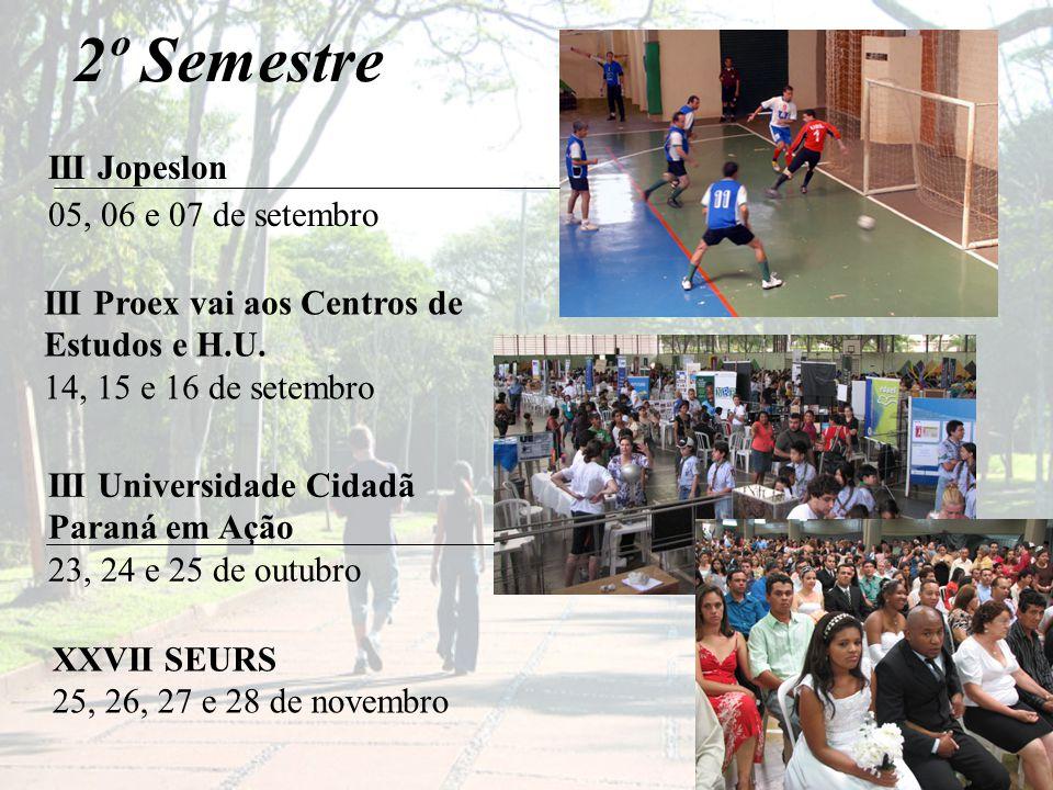 2º Semestre III Jopeslon 05, 06 e 07 de setembro XXVII SEURS 25, 26, 27 e 28 de novembro III Universidade Cidadã Paraná em Ação 23, 24 e 25 de outubro III Proex vai aos Centros de Estudos e H.U.