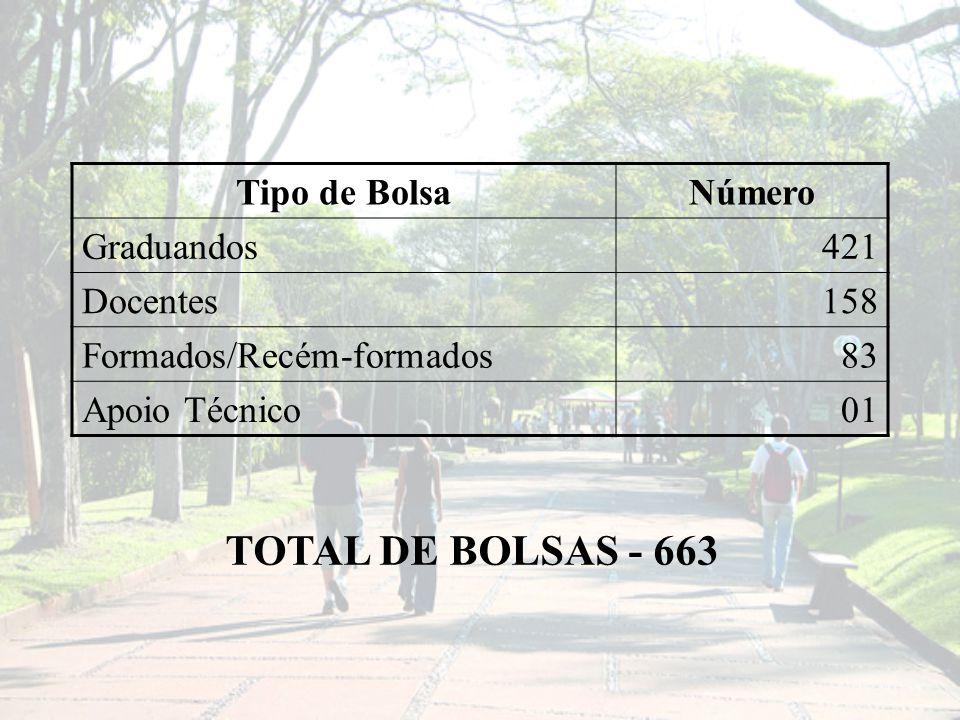 Tipo de BolsaNúmero Graduandos421 Docentes158 Formados/Recém-formados83 Apoio Técnico01 TOTAL DE BOLSAS - 663