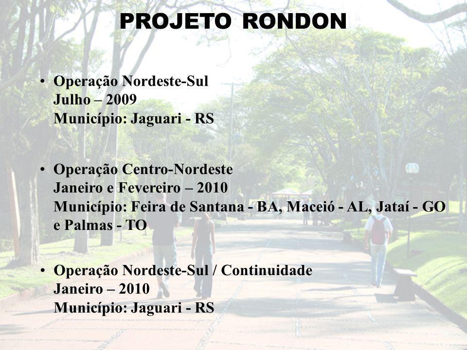 PROJETO RONDON Operação Nordeste-Sul Julho – 2009 Município: Jaguari - RS Operação Centro-Nordeste Janeiro e Fevereiro – 2010 Município: Feira de Santana - BA, Maceió - AL, Jataí - GO e Palmas - TO Operação Nordeste-Sul / Continuidade Janeiro – 2010 Município: Jaguari - RS